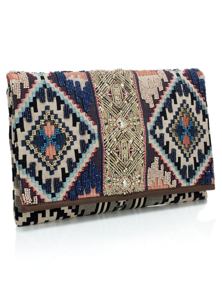indigo embroidered clutch