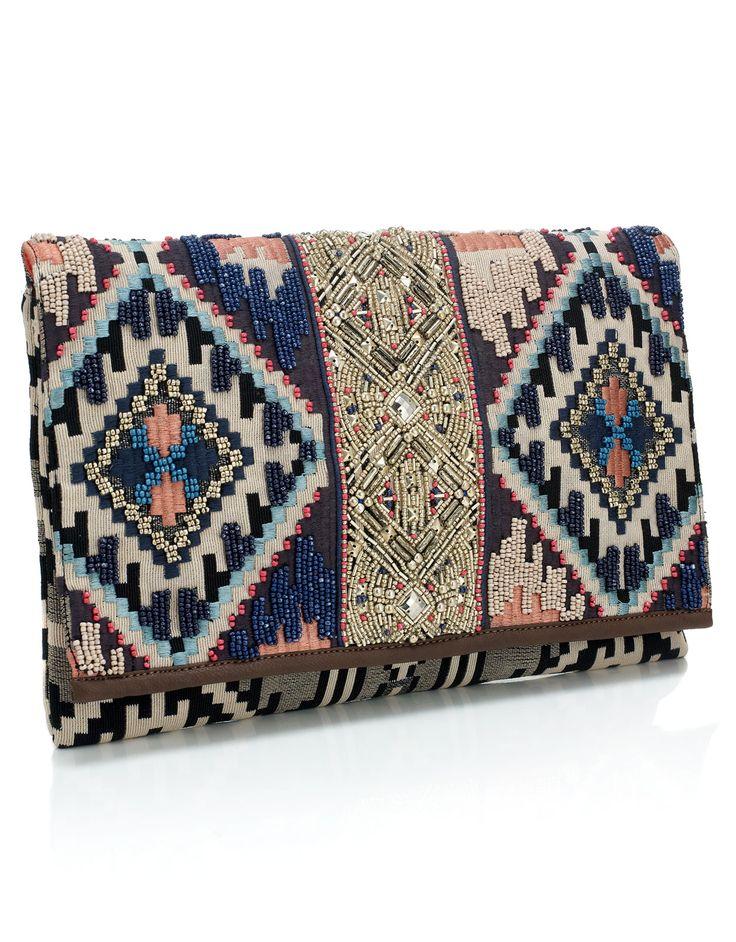 Indigo embroidered Clutch. Gotta admit I'm falling for the tribal prints alittle bit