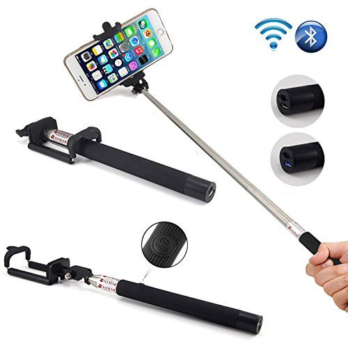SAMAR® Extendable Integrated Selfie Handheld Stick {Latest 2015 Version} Pole Monopod with Built-in Wireless Bluetooth Remote Camera Shooting Shutter and Adjustable Phone Holder compatible for iPhone, Samsung and other IOS and Android Smartphones (Black) SAMAR http://www.amazon.co.uk/dp/B00UEQQ5YA/ref=cm_sw_r_pi_dp_tNZWvb1QR66P7