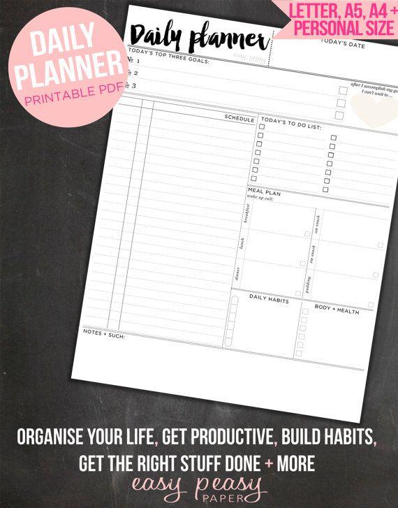 """Dagelijkse Planner afdrukbare, organisator van de dag, A4 dagelijkse planner inzetstukken, A5 dagelijkse planner, 8.5 """"x 11"""", persoonlijke Planner bij de dag - chique student planner"""