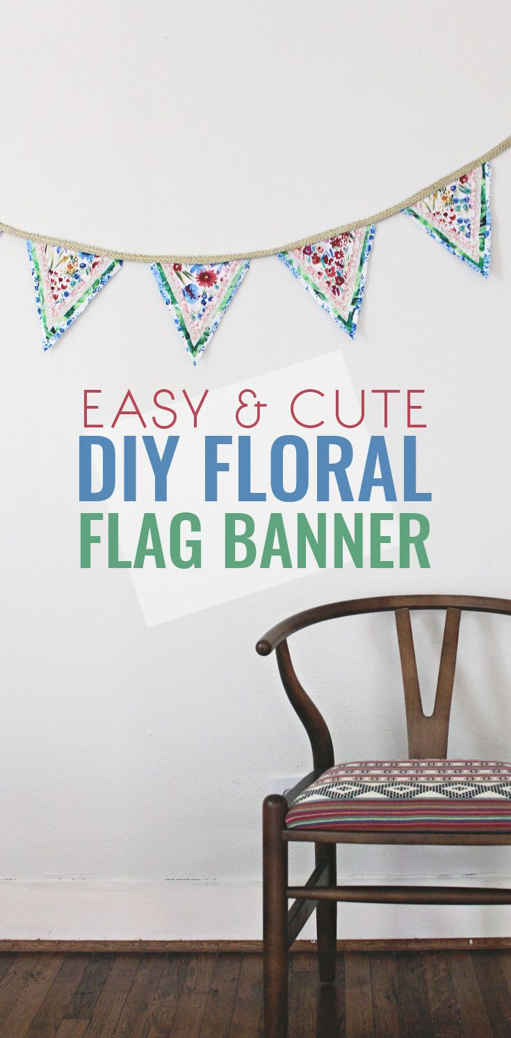 This DIY Flower Flag Banner Garland is SO easy to make and a wonderful addition to any room or party! I love how versatile this is with all the fabrics you can combine on it.