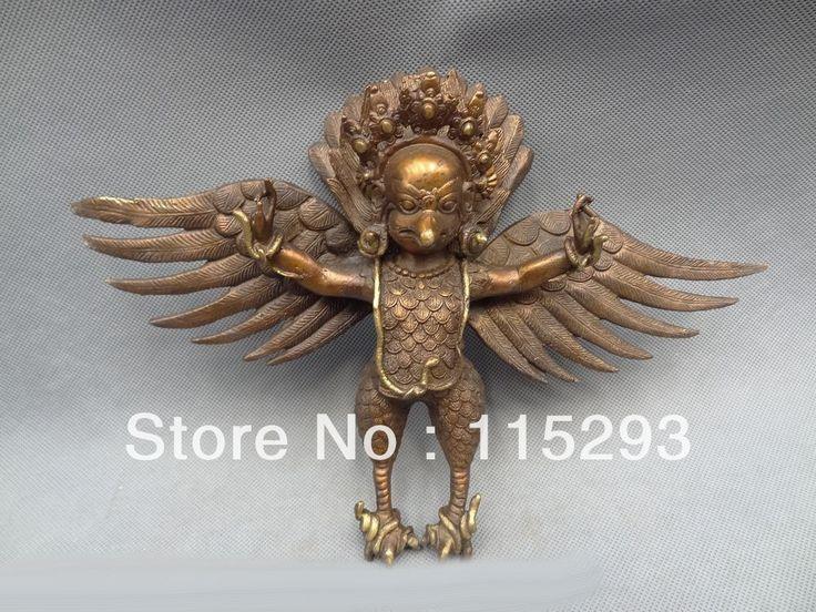 """Купить товар12 """" тибетского буддизма из бронзы крыльями Fly гаруда чечетка будда птица орел статуя г в категории Металлические ремеслана AliExpress."""