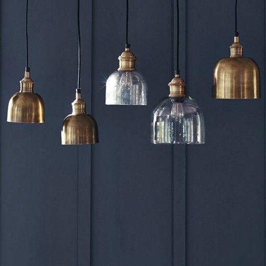 Flori Glass Pendant, Brass