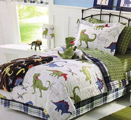 Dinosaurs Dinos Boys Full Comforter, Shams and Sheet Set (7 Piece Bed in a Bag) Green White Blue Red Dino Bedding http://www.amazon.com/dp/B00KVVJZIG/ref=cm_sw_r_pi_dp_Sx9Mvb1R6Q6AP