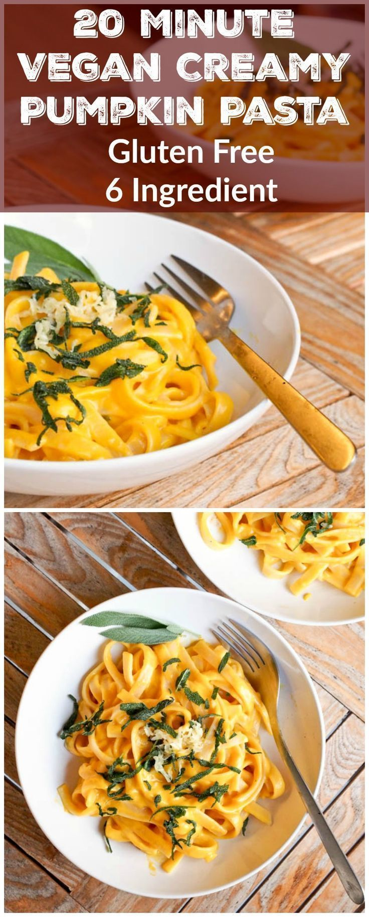 Need dinner on the table quickly? Make this 20 minute 6 ingredient vegan creamy pumpkin pasta. Can be made with butternut squash instead! Healthy, simple and delicious. #vegan #glutenfree