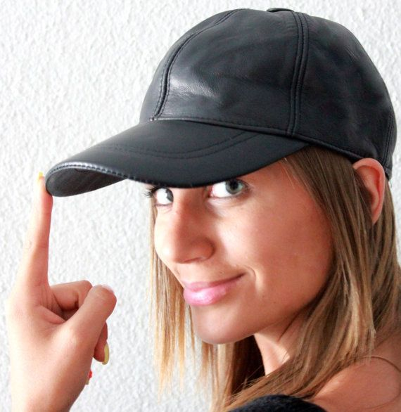 Handmade black unisex leather ball cap