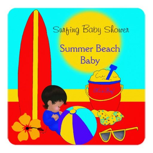 Summer Baby Shower Boy Beach Baby Surfing Baby 5B