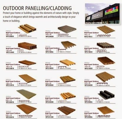 Choices for composite wood profiles for external wall cladding and paneling has never been better. Biowood™ has more choice than any other on the market. Please contact us for more information today about your installation in Indonesia. http://rksheffer.blogspot.com or email at ricksheffer@tenucrust.com or primaldy@tenucrust.com