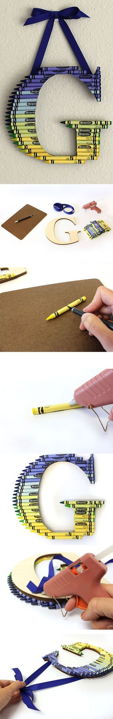 How to Create a Ombre Crayon Letter | CraftCuts.com - these colors for Pax, pinks, reds, and purples for Char
