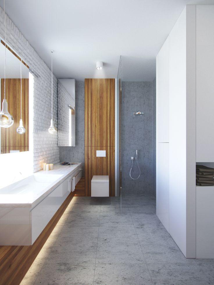 Łazienka beton,drewno+ceramika