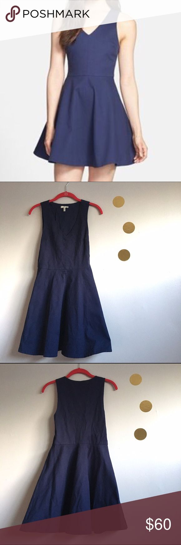 """Joie Navy Blue Norton Dress Gorgeous Joie dress! Perfect for holiday parties! Textured fabric, side zip closure. Approx. 34"""" L. May have a few dog hairs due to the textured fabric (my pup apologizes! 🐶) and needs to be ironed. Has 3 tiny pulls (last phot) that are barely noticeable. Otherwise excellent pre-loved condition!   🚫no trades 🚫no modeling ✅dog friendly/🚭smoke free home ✅reasonable offers ✅bundle & save! Joie Dresses"""