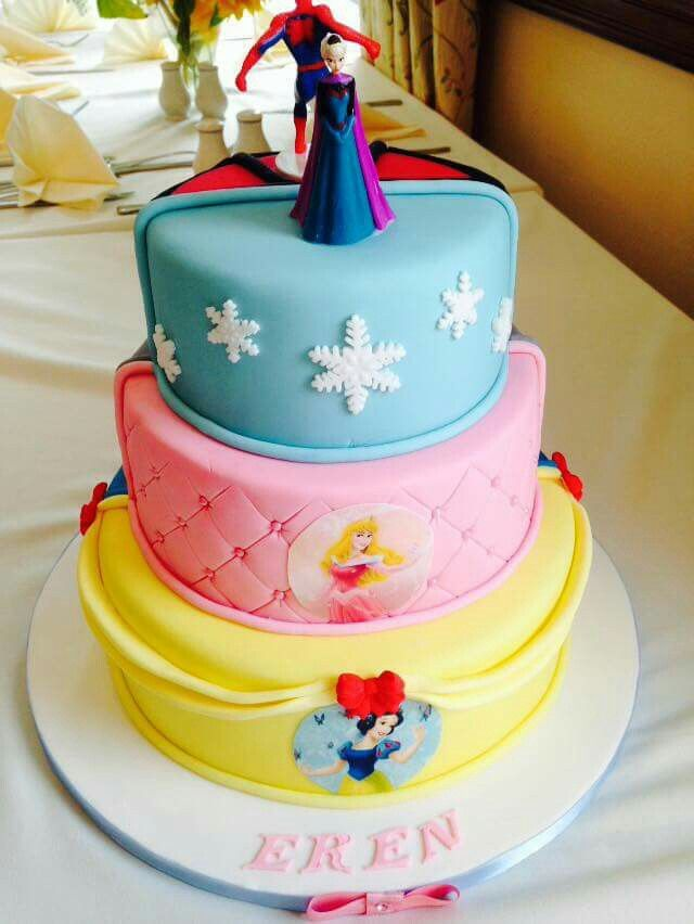 Disney princess/Superhero cake