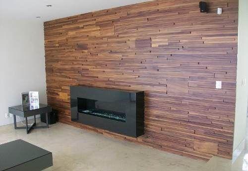 revestimiento madera recubrimiento mosaico pared teca