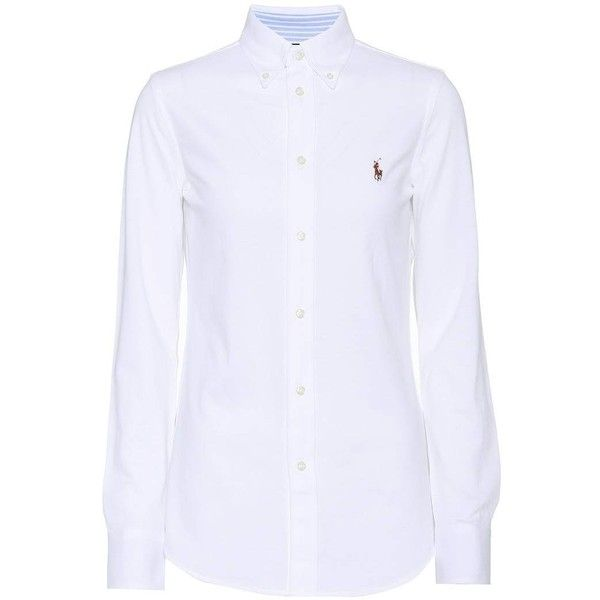 Polo Ralph Lauren Cotton Shirt ($145) ❤ liked on Polyvore featuring tops, white, white shirt, shirt top, polo ralph lauren, white cotton shirt and woven cotton shirt