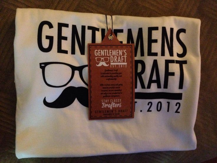 Check out Gentlemen's Draft Clothing at https://www.facebook.com/GentlemensDraft   $2 from each item sold is donated to prostate cancer research.  Join us in  helping to fight cancer, one shirt at a time.   Stay classy like never before with our signature moustache and glasses logo on our custom designed threads.   Also check us out on: Instagram - gentlemens_draft