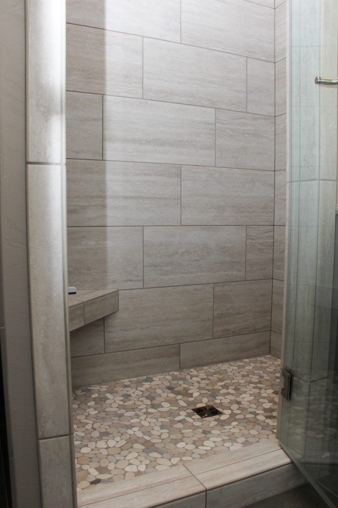Gray Tiled Shower With Accent Pebble Tile Shower Floor Pebble Tile Shower Floor Pebble Tile Shower Bathroom Remodel Shower