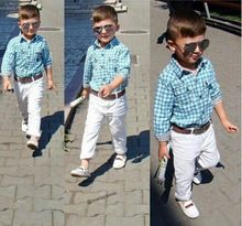 ST154 2015 novos meninos da moda roupas set crianças loose-fitting algodão camisa xadrez + calça + cinto 3 pcs sequaz crianças conjunto de roupas varejo(China (Mainland))