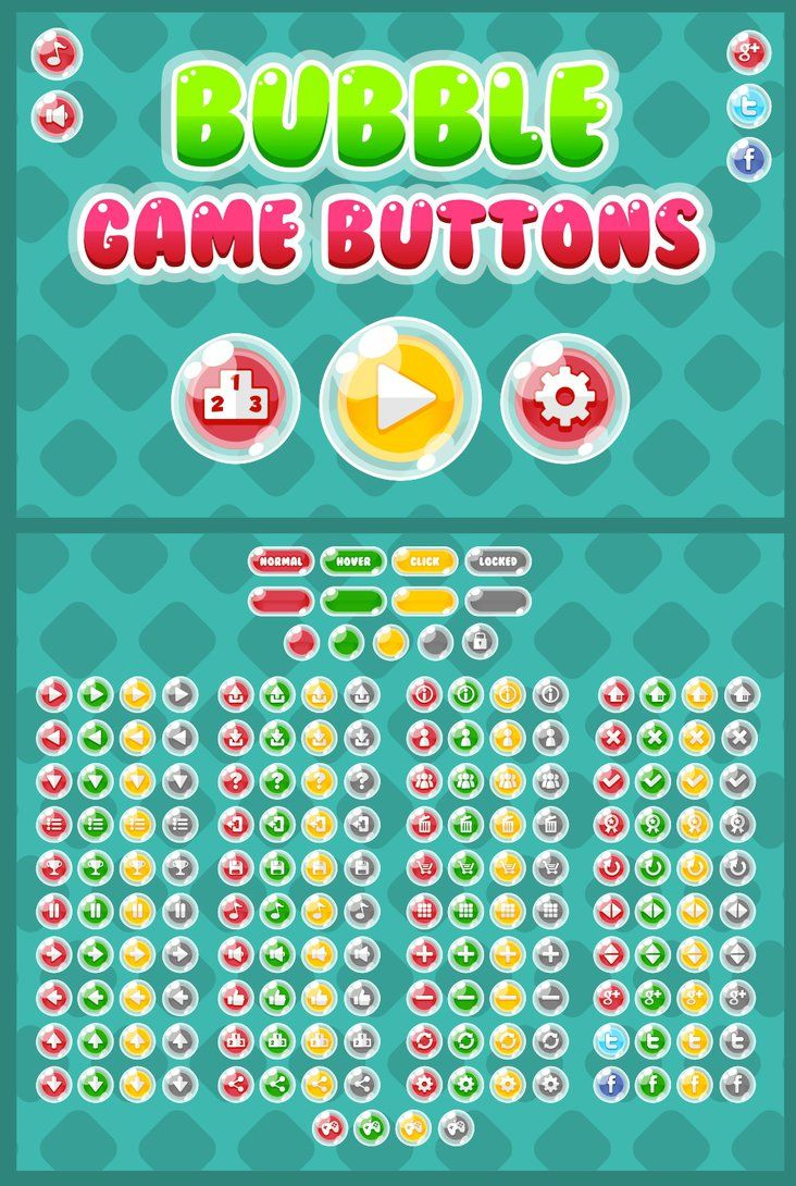 Set of button with bubble theme, for any kind of games. Especially casual, puzzle, match three, kids, or girl games.  #2d #game #assets #gui #ui #ux #interface #button #free