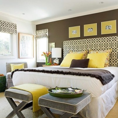 Another Yellow  Grey Bedroom