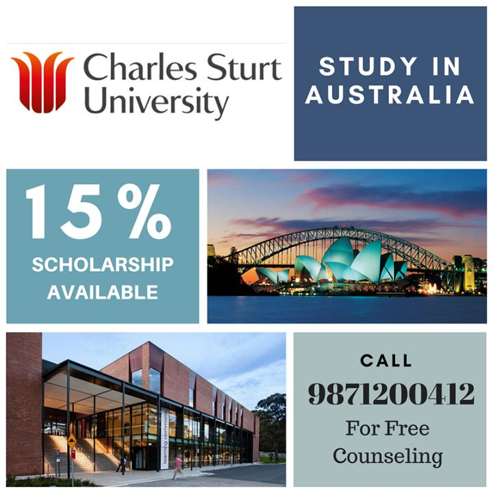 Study in Australia 15% #Scholarship Available in #CharlesSturtUniversity Campus Available:#Brisbane #Sydney #Melbourne #Albury_Wodonga #Bathurst #Canberra #Dubbo #Goulburn #Orange #Parramatta #PortMacquarie Field of Study: #Business #Information_technology #Engineering #Psychology #nursing #Science #Teaching and #Education Agricultural and Wine Sciences Allied Health and Pharmacy Animal and Veterinary Sciences #studyinaustralia #studyabroad #masters #bachelor #Diploma For more Details: Call…