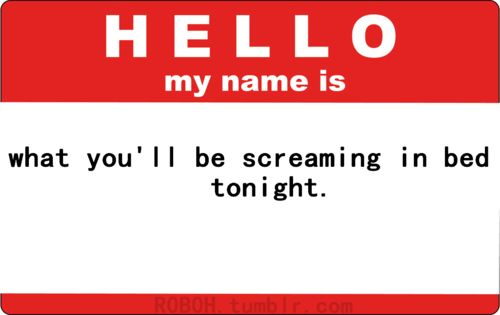 What you'll be screaming in bed tonight.  LOLHello, Funny Things, Laugh, Funny Shit, Names, Funny Stuff, Humor, Favorite Quotes, Funnystuff