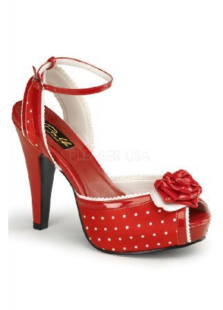 Pin Up Couture Bettie-06 Polka Dot Peep Toe Shoe - Size: UK 2 Red satin and patent White polka dots 50s rockabilly andamp