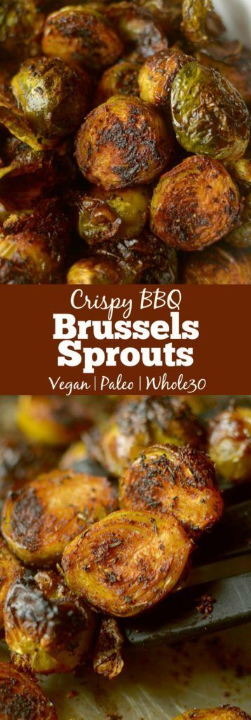 These Crispy Barbecue Spiced Brussels Sprouts are a tasty + addicting side dish that anyone will love, even brussels sprouts haters! Vegan, Paleo + Whole30 Friendly!