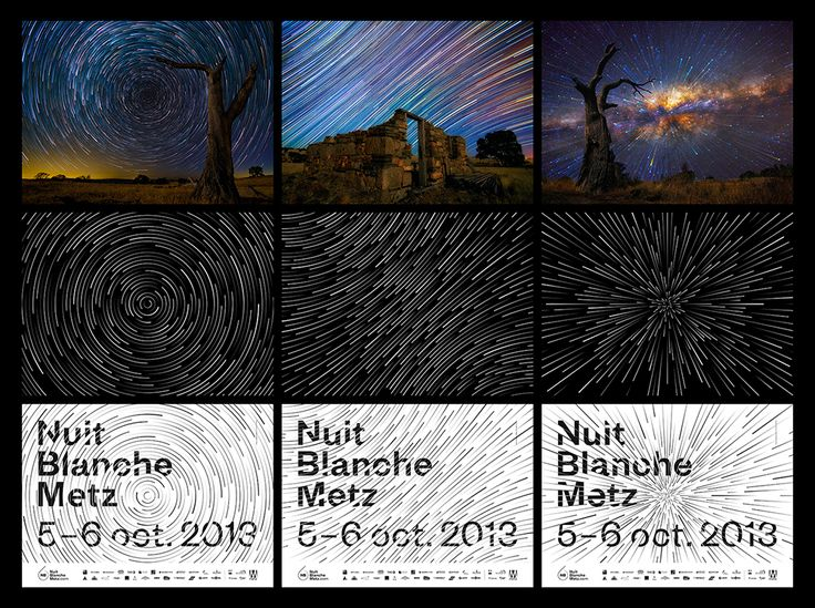 Nuit Blanche posters by Frederic Tacer featuring star trails