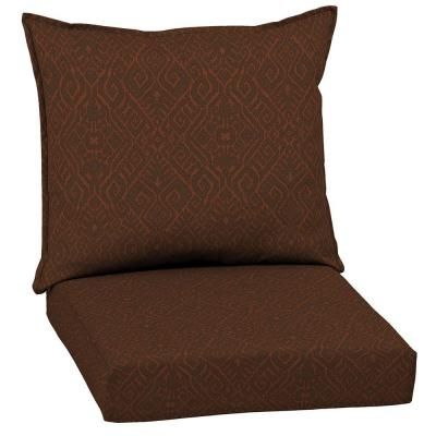 Patio Cushion Ideas   Hampton Bay Cayenne Ikat Outdoor Deep Seating Cushion    The Home Depot