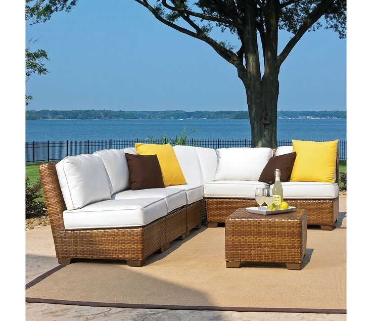 panama jack outdoor st barths corner modular sectional with cushions set includes 5 armless chairs 1 corner chair and 1 coffee table with umbrella hole