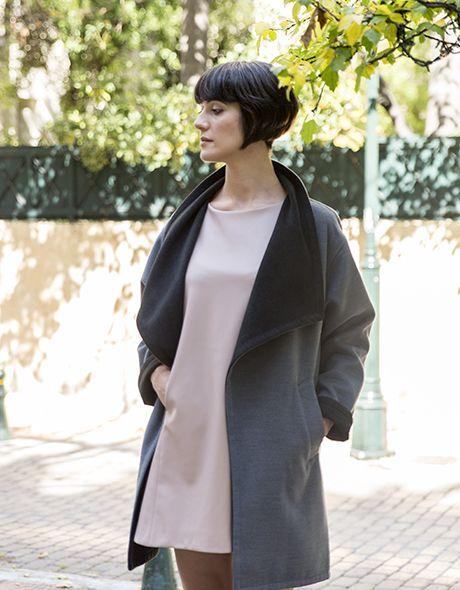 Coat onesize grey - black!!! www.cherryschoice.gr