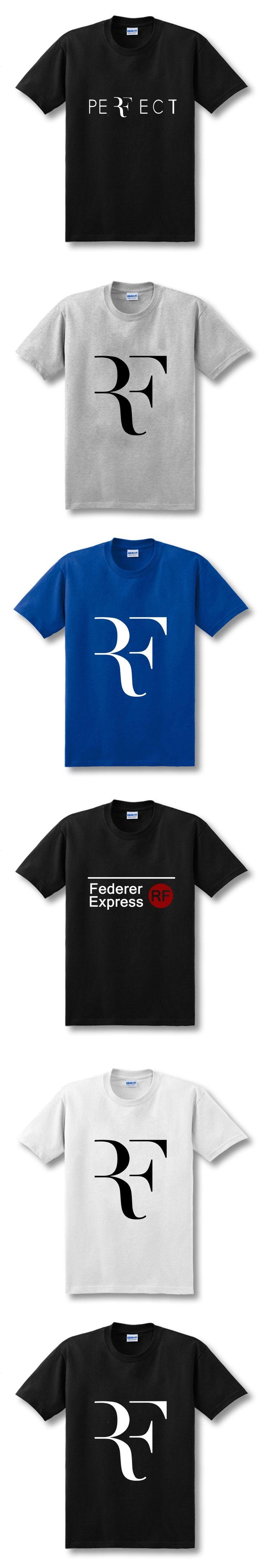 2018 New Summer Fashion Roger Federer RF T Shirt Men Cotton Casual Short Sleeve Printed T-shirt Top Tees  Size XS-XXL
