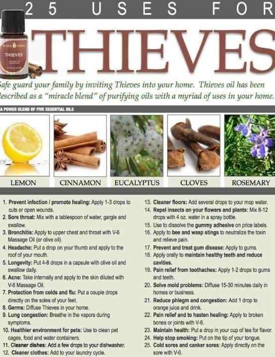 Invented in the 15th century, this oil was created by spice traders who robbed the dead in order to protect themselves against the plague. They'd take it internally and rub the oils all over their bodies. Diffusing Thieves Essential Oil will also kill 99% of airborne bacteria in 12 minutes.