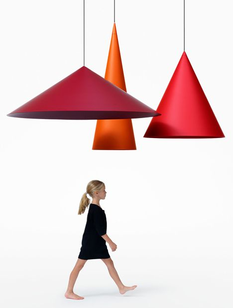 Stockholm design studio Claesson Koivisto Rune has created a set of three huge cone-shaped lamps for Swedish lighting brand Wästberg