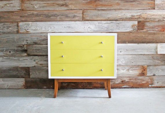 Vintage Hand-Painted Yellow & White Mid Century Modern MCM Retro Chest of Drawers / Nightstand / Small Dresser / Changing Table