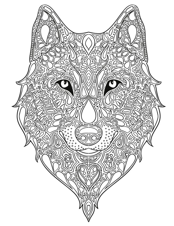 Wolf Design Coloring For Adults Adult Pages Men