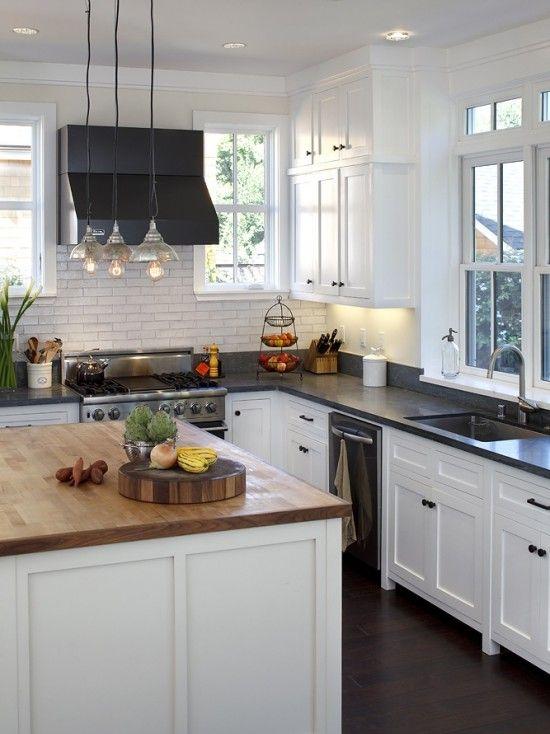 White Cabinets Black Granite Subway Tile Ktichen Remodel In 2019 Kitchen Countertops