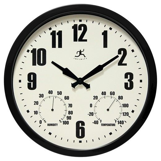 Infinity Instruments Munich Black indoor/outdoor wall clock features a hygrometer and thermometer.  A contemporary design that will look great inside or outside of your home.