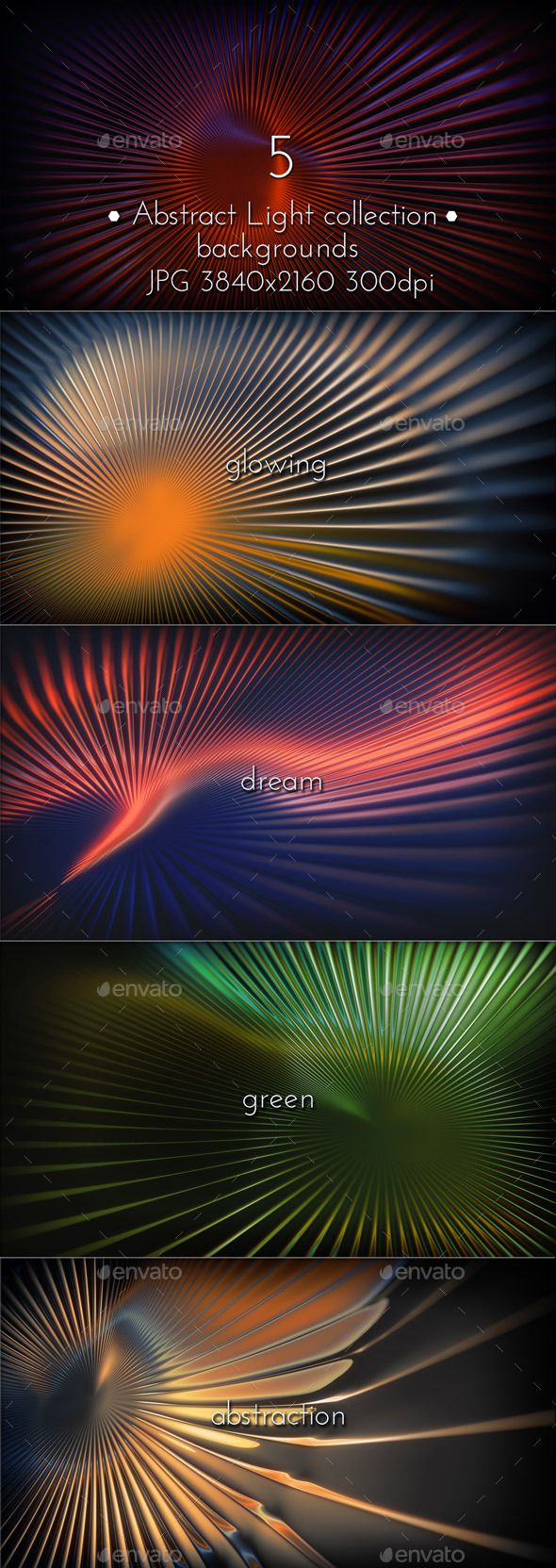 Dream Light Abstraction 3d backgrounds collection. 5 Hi-res JPG. 3840×2160, 300 DPI. Graphicriver back collection. #imagination