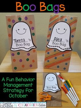 "Looking for a fun Halloween behavior management strategy? Boo Bags are a fun way to encourage positive behavior during the month of October! Every student will have his or her own ""Boo Bag."" Each day a student shows positive behavior, he or she will receive a special treat in his or"