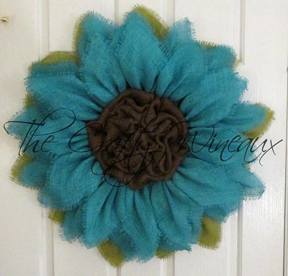 Jade Blue Burlap Flower Wreath Burlap Sunflower Wreath