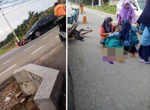 Ibu tunggu anak balik sekolah putus kaki dirempuh kereta   Seorang wanita putus kaki kanan selepas dirempuh dan digilis sebuah kereta ketika sedang menunggu anaknya di hadapan Sekolah Menengah Kebangsaan (SMK) Seri Menanti di sini petang tadi.  Ibu tunggu anak balik sekolah putus kaki dirempuh kereta  Dalam kejadian kira-kira jam 4 petang itu mangsa Ida Suryanti Yunus 46 dari Kampung Parit Nawi di sini mengalami kecederaan parah apabila kaki kanannya putus selepas dirempuh kereta itu ketika…