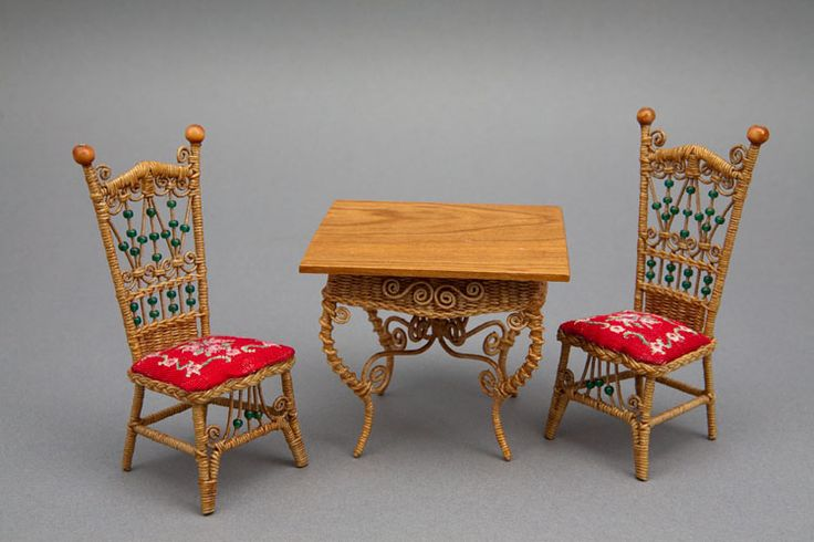 Good Sam Showcase of Miniatures: At the Show - 1870s Tea table and ornate Victorian lady's reception chairs with petit point seat cushions.