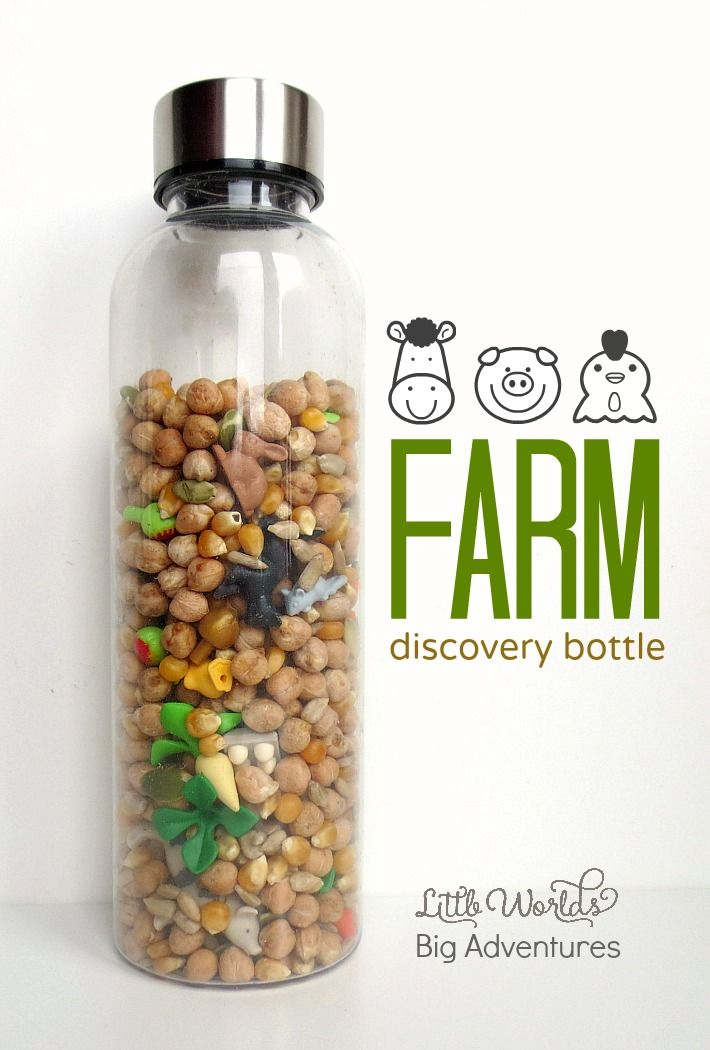 Fun Farm Discovery Bottle | Little Worlds Big Adventures #farm #sensoryplay #discoverybottle #preschooler #toddler #diytoys #toys