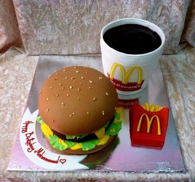 Cake Designs Awesome : mcdonald s burger and coke cake cake Pinterest ...