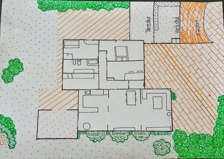 Skitse af huset og haven. Planlægning af ny garage, frugthave, forhave og værksted