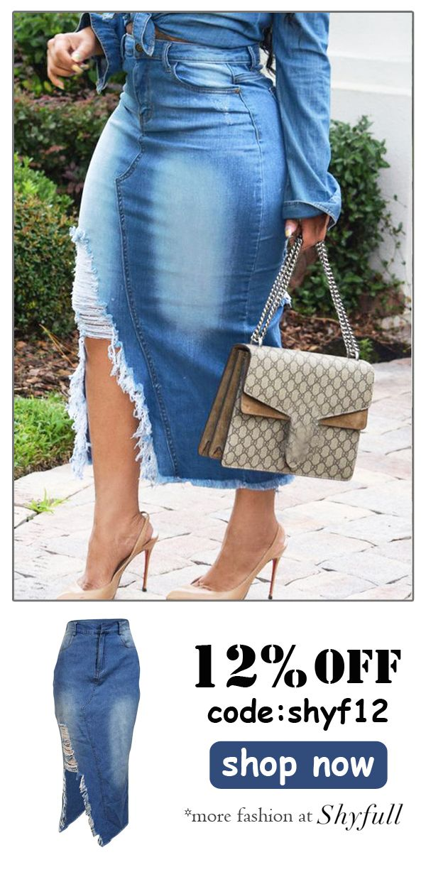 cbb3dfbe1f03b Casual Broken Holes Slim Denim Mid Calf Skirts in 2019 | dress ...