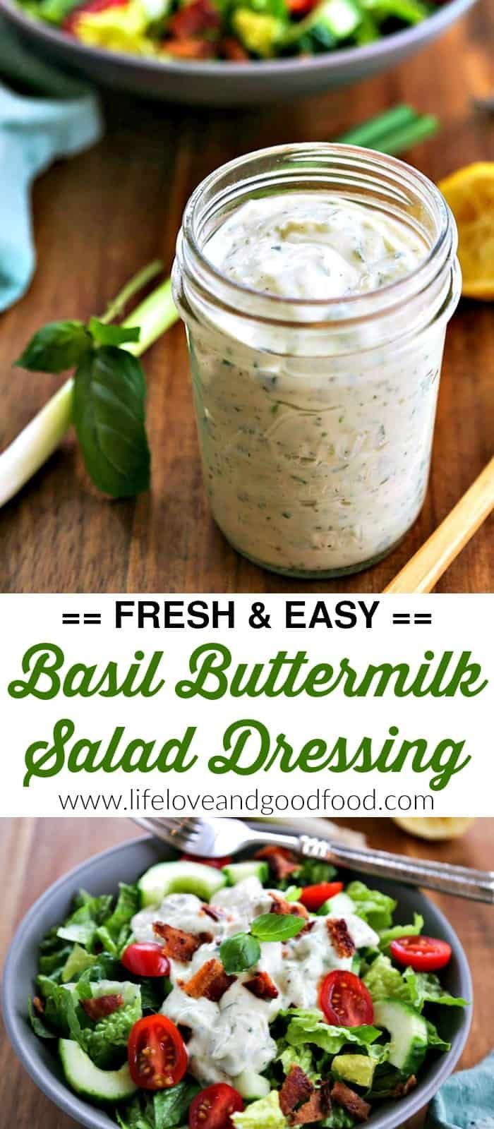 Basil Buttermilk Dressing Welcome Spring With Fresh Salads Topped With A Delicious Homemade Buttermilk Salad Dressing Vinaigrette Recipes Buttermilk Dressing