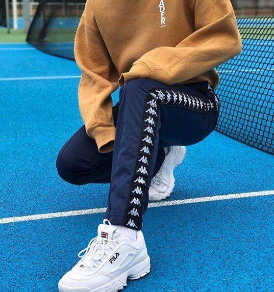 style kappa pants outfit Fila Disruptor