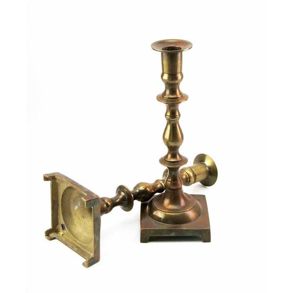 Lovely Traditional Colonial Country Antique Brass Taper Candlesticks... ($33) ❤ liked on Polyvore featuring home, home decor and candles & candleholders